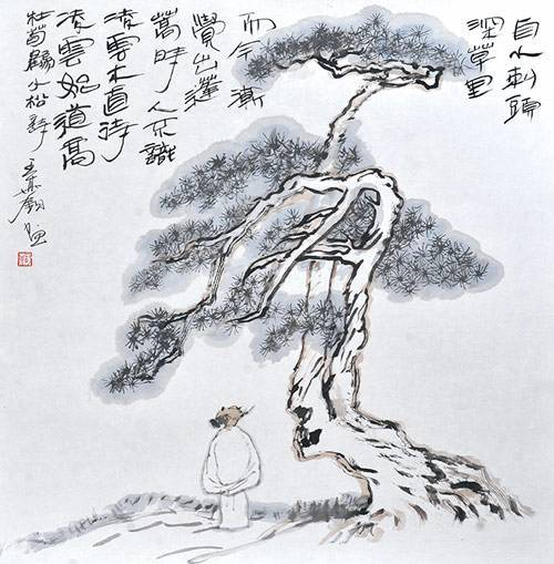 小松唐杜荀鹤图画