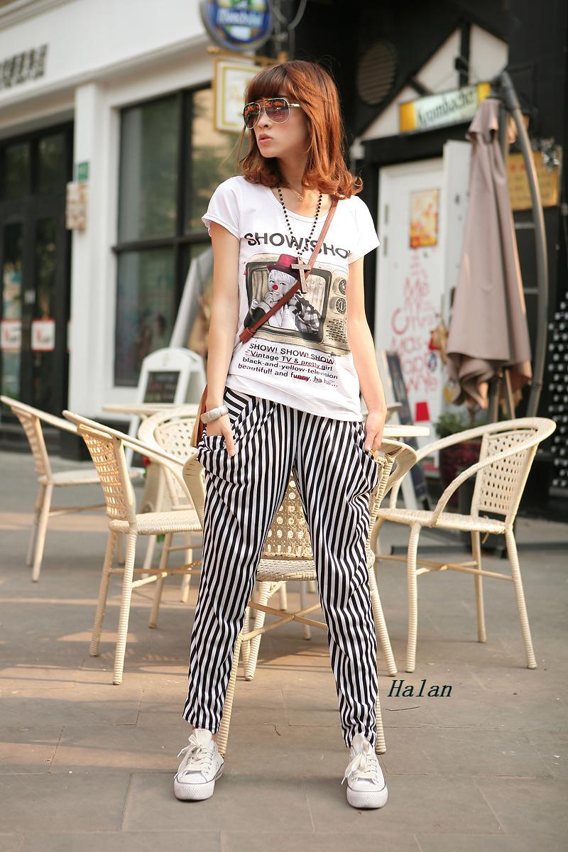 竖条纹裤子搭配图片_竖条纹哈伦裤怎么搭配啊!!有图最好~~!_百度知道
