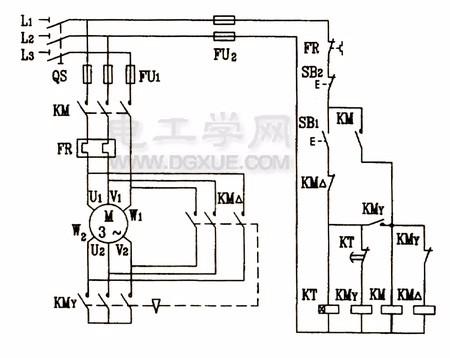 时间继电器自动星三角降压启动电路图 电气技术图片