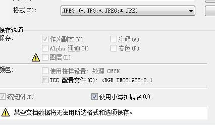photoshop文件不能以JPG形式保存!弹出以下窗