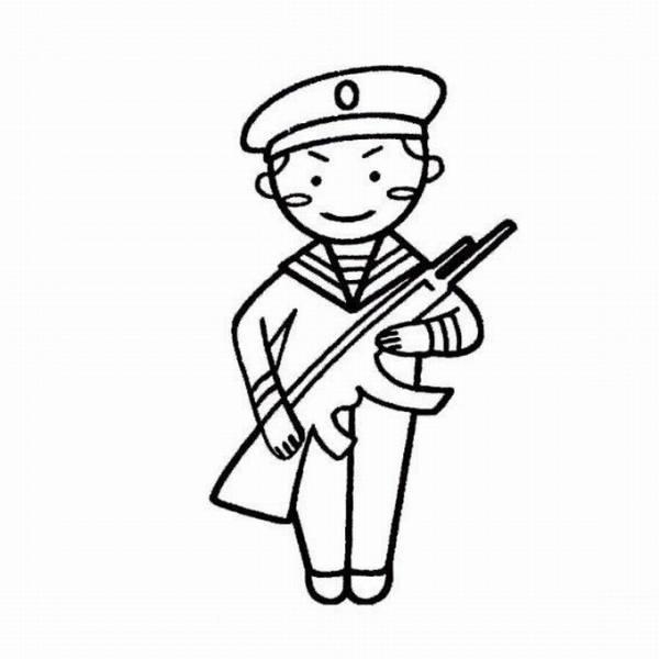 国防简笔画一定要有军人