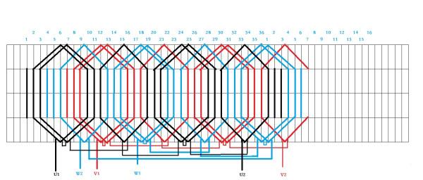 三相电动机绕组接法_求助4极4KW的36槽电机下线方法! 急。。_百度知道