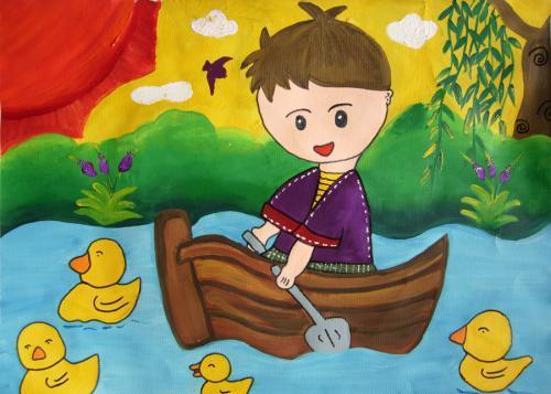 儿童画 春游图片