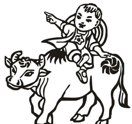 清明里的牧童怎么简笔画