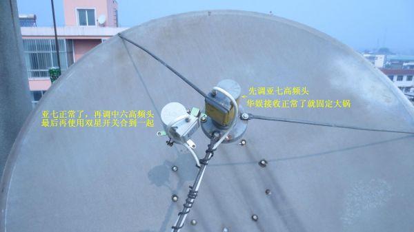 卫星锅高频头_卫星天线大锅,中星6B和亚洲3s的高频头怎么装。人站在锅后面 ...