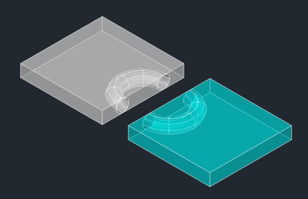 分组成,上半部长方体挖去一个圆柱体,接下来如题图片