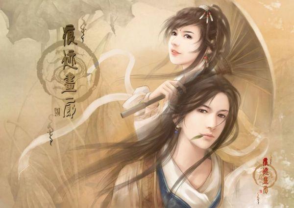 双人手绘古装图片