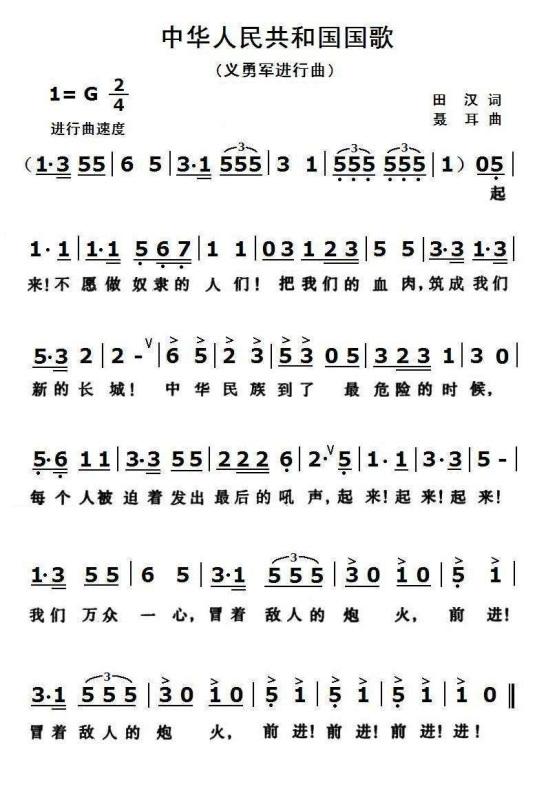 小号谱——义勇军进行曲_《中华人民共和国国歌》的歌谱,要长笛的简谱。_百度知道