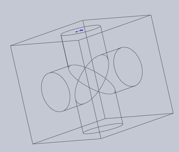 机械制图 两个一样的圆柱相贯出现一个十字,但如果在一个立方体内图片