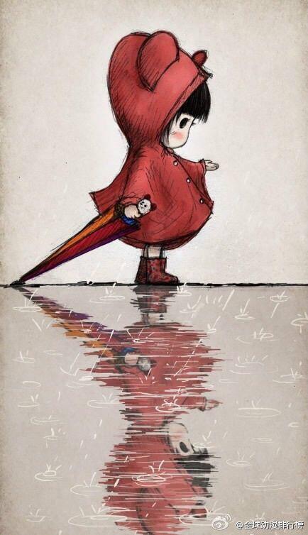一个女人拿一把伞_求一个高清壁纸,一个小女孩,好像叫木朵,穿着红色雨衣,拿 ...