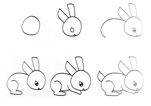 一笔画小兔子的画法
