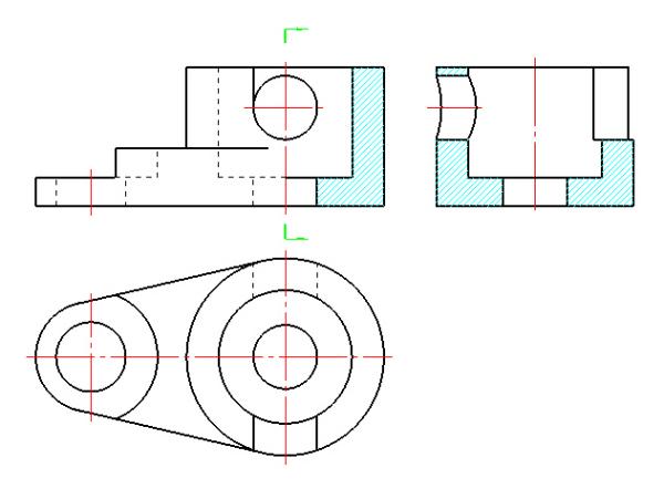 机械制图半剖视图_工程制图。画出左视图。按剖视图画。。_百度知道