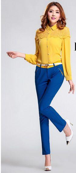 黄颜色裤子搭配_蓝色上衣配什么裤子_百度知道