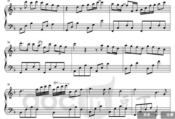 钢琴d调曲谱_菊花台d调钢琴曲谱