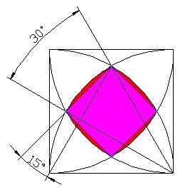 正方形内四个扇形重叠 中间面积