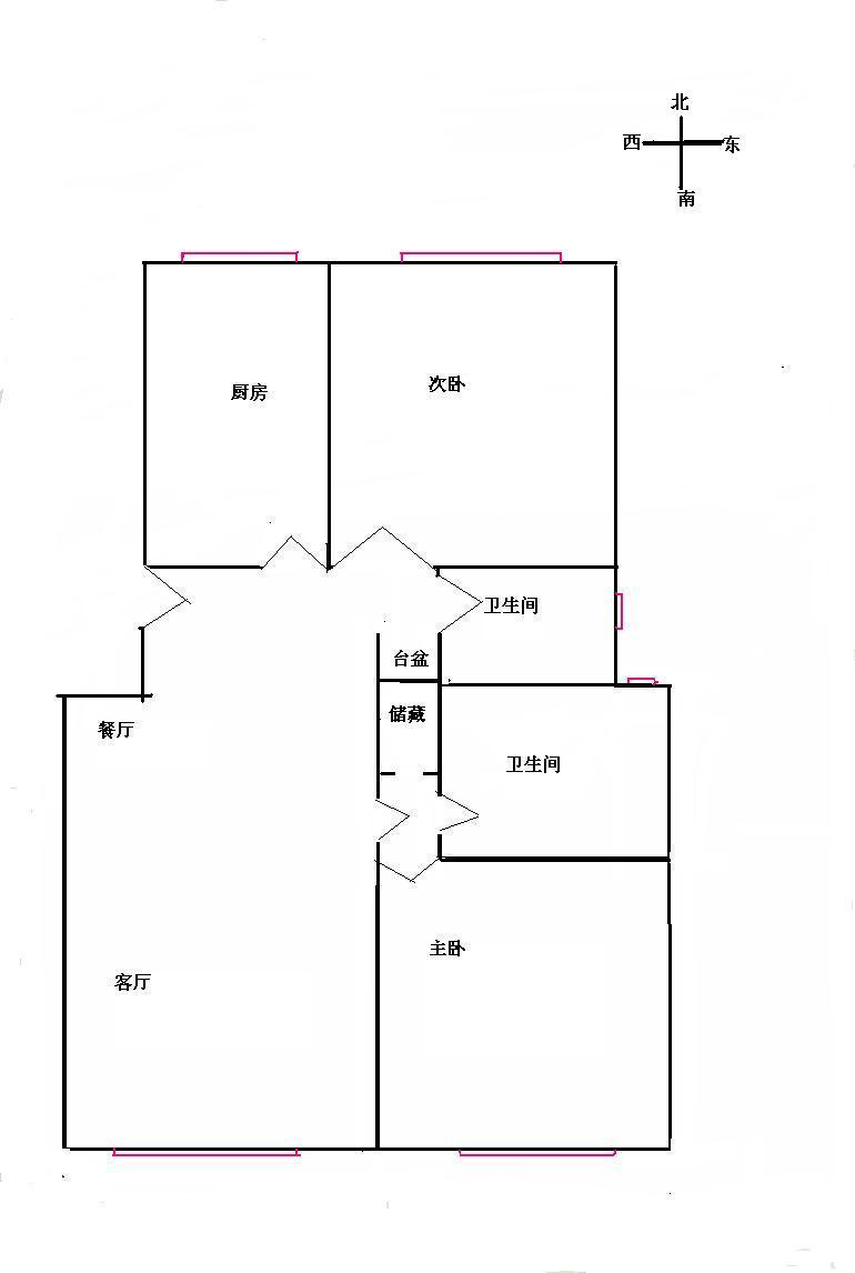 房子位于四樓,總高6層,坐北朝南,紅色部分為窗戶.圖片