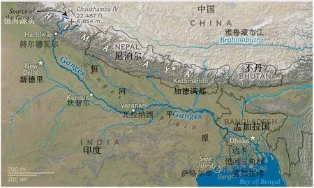恒河地理地形图