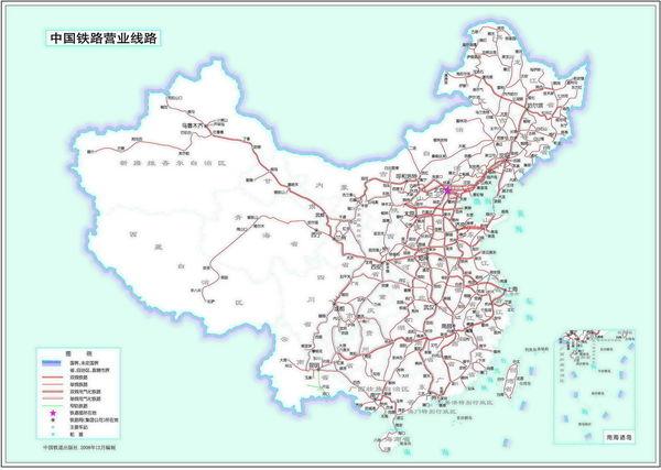 高清的中国铁路地图如下