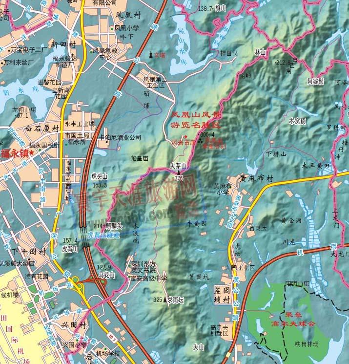 深圳凤凰山景区地图