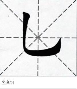 竖弯钩在田字格怎样写