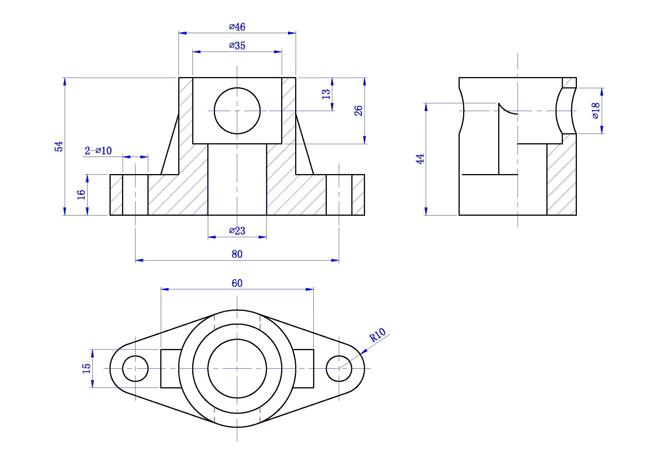 机械制图半剖视图_机械制图问题第一个补缺线第二个已知二视图求三视图第三个剖 ...