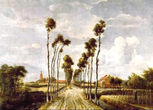 荷蘭風景畫家中第二位著名的是霍貝瑪(1638.10~1709.12).
