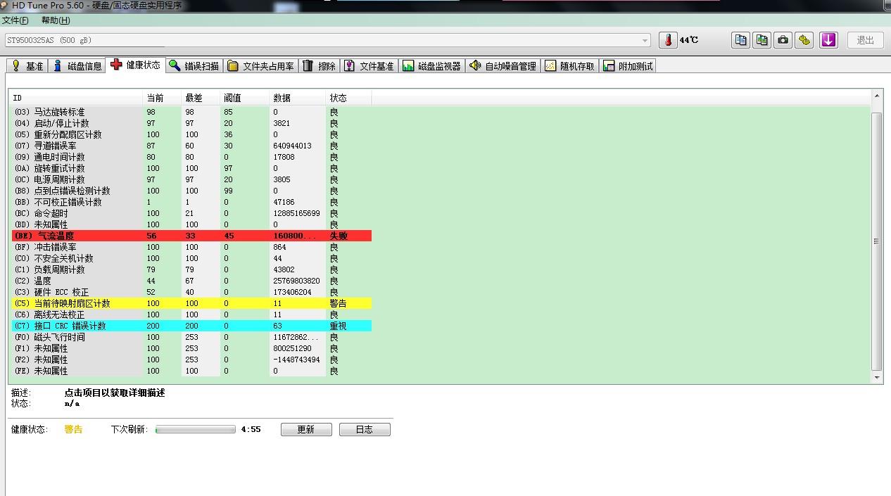 硬盘故障 希捷ST9500325AS[500gb] (c5)当前待映射的扇区数 (c7)ultra dma ...