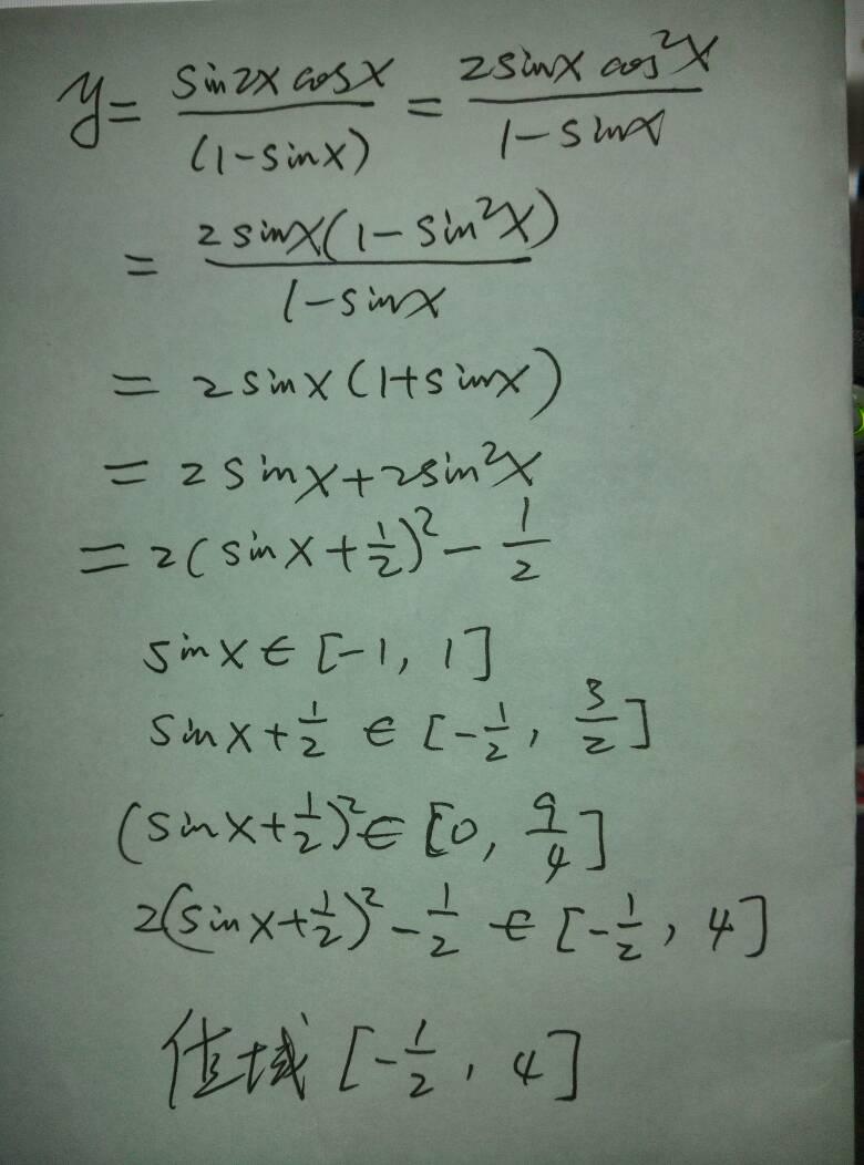 函数y=(sin2x×cosx)/(1-sinx)的值域为_百度知道