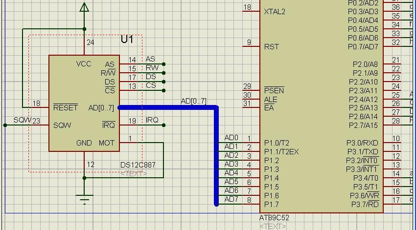 上海公��o#�ad�n�_protues中ds12c887总线(ad[0·····7])如何和单片机i\\o连接?