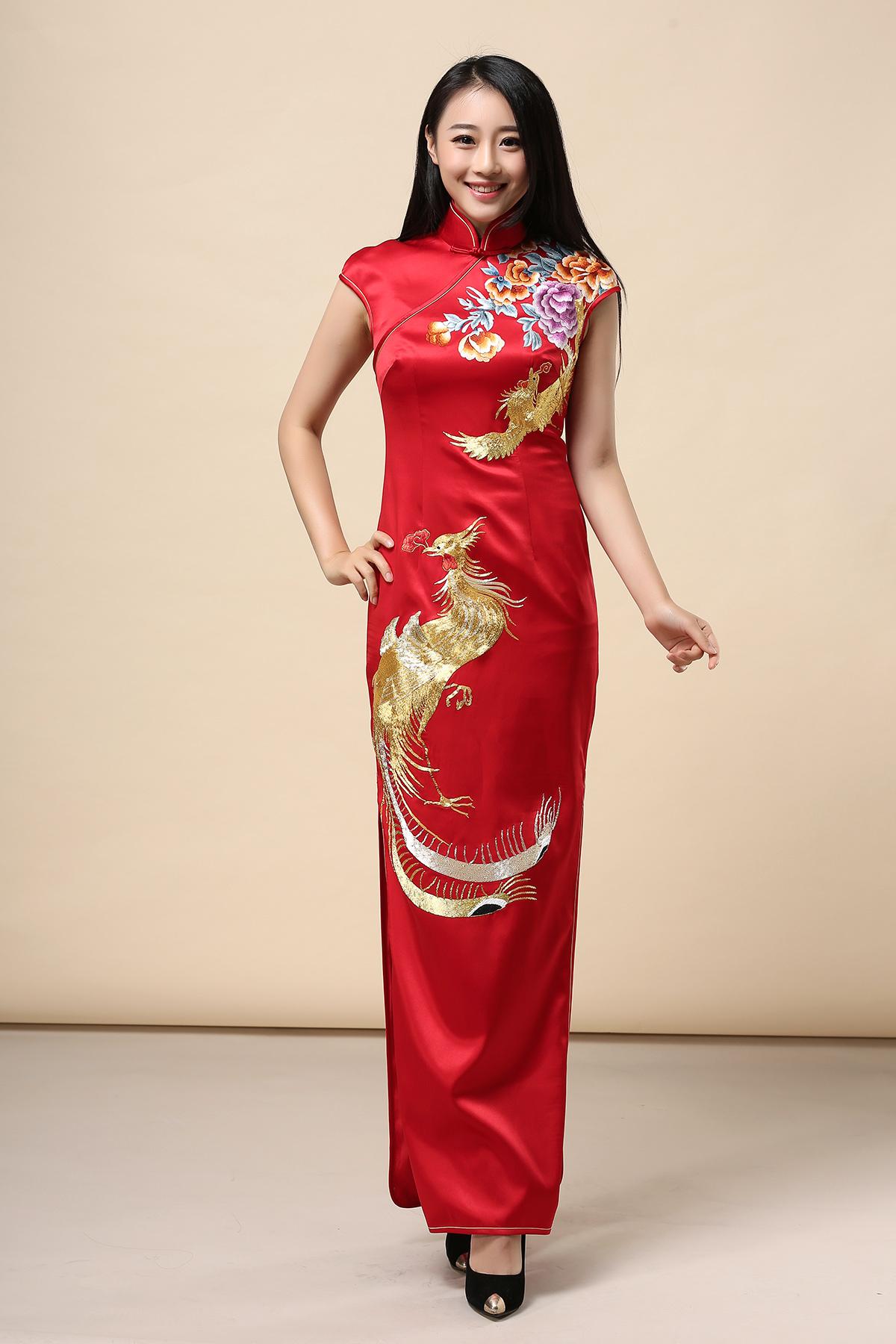 红色旗袍_可以穿红色刺绣旗袍,喜庆也好看!