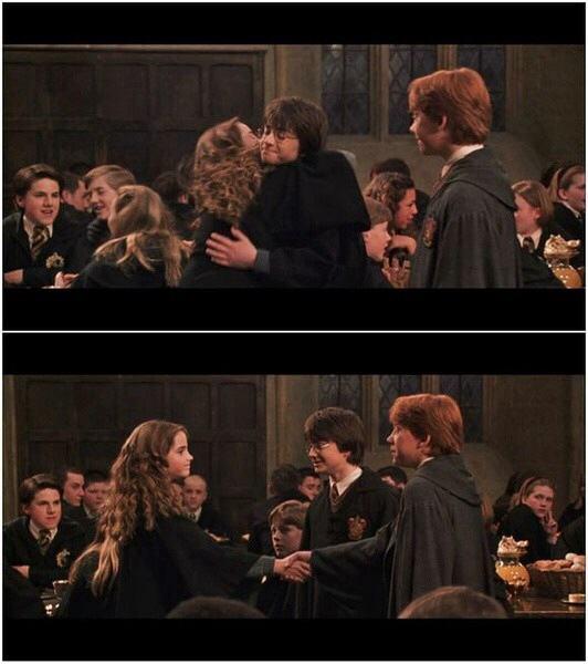 罗恩与赫敏接吻照_哈利波特里的赫敏和罗恩为什么要亲吻?_百度知道