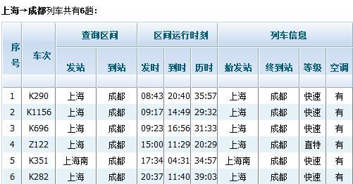 上海到成都的火车时刻表_上海到成都的火车时刻表