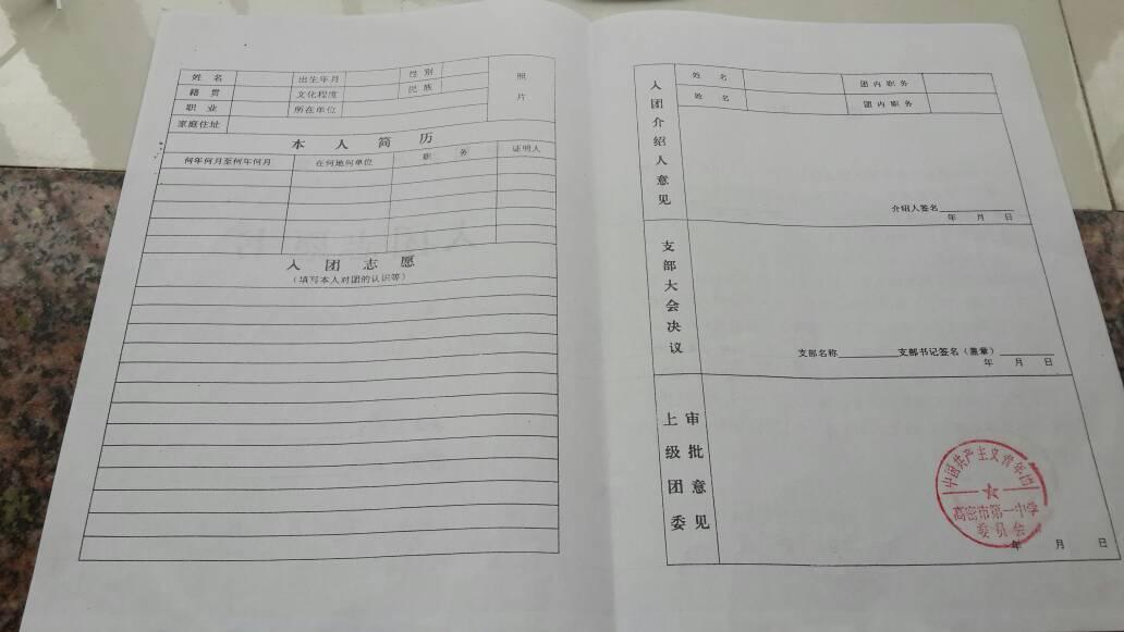 請問各位大神,這張表怎么填?這是一張大學入團志愿書圖片