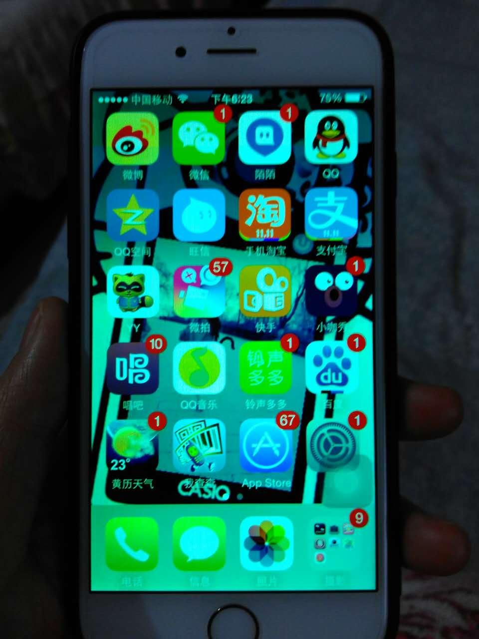 热比亚照片_苹果6手机屏幕变色变绿怎么回事?_百度知道