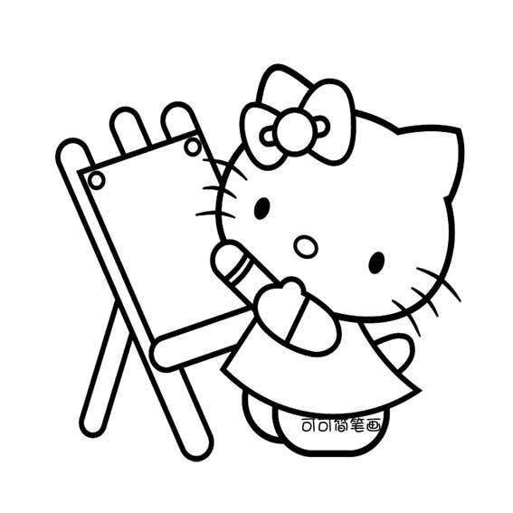 画画的kitty猫简笔画