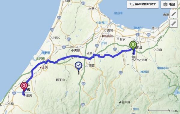 日本富山机场离石川县能美市有多少公里?
