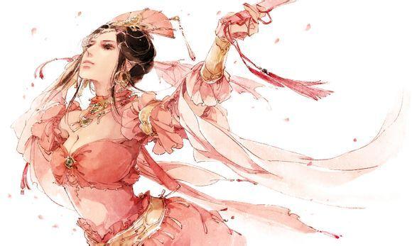 一个女人拿一把伞_一个穿着红色古装手绘的女子,撑着一把伞的图_百度知道