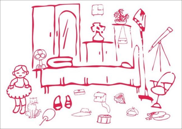 女孩的卧室简笔画