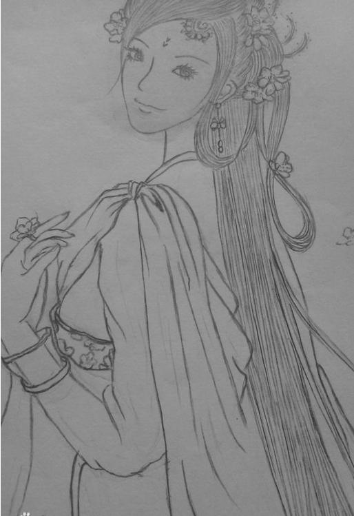 古装衣服图片铅笔画_古装美女简笔素描画(简单,图片,适合入门)_百度知道