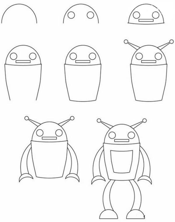 怎么画机器人最简单女生
